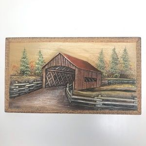 Small Carved Wood Covered Bridge Wall Art